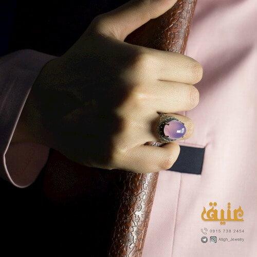 انگشتر نقره زنانه عقیق کبود مارکازیت