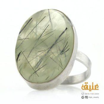 انگشتر نقره یشم مویی دستساز