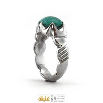 انگشتر نقره مردانه فیروزه تیشابوری