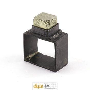 انگشتر نقره پیریت طلایی