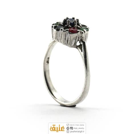 انگشتر نقره یاقوت و زمرد زنانه