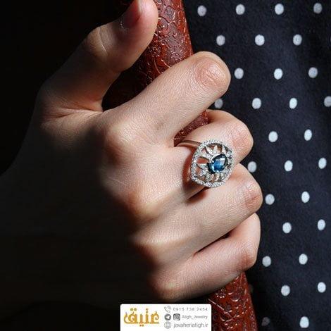 انگشتر نقره توپاز لندنی