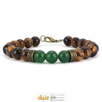 دستبند چشم ببر و عقیق سبز