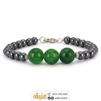 دستبند عقیق سبز و حدید