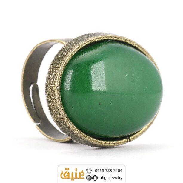 انگشتر عقیق سبز برنزی