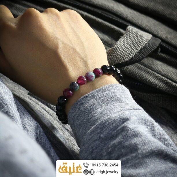 دستبند عقیق هندوانه و انیکس