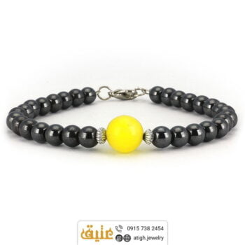 دستبند عقیق زرد و حدید