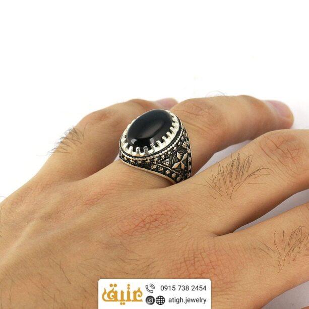 انگشتر نقره عقیق سیاه
