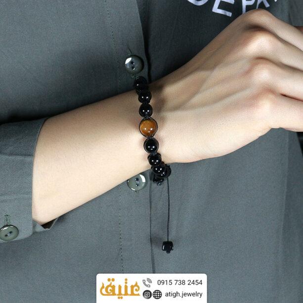 دستبند بافت عقیق سیاه و چشم ببر