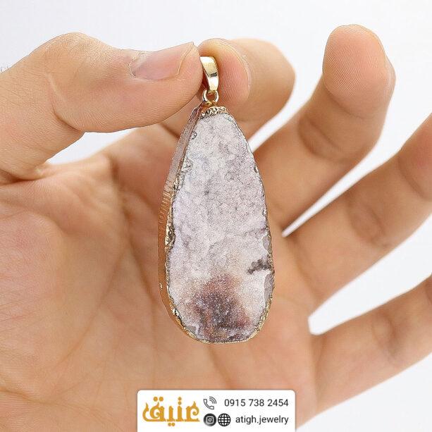 گردنبند ژئود عقیق خوشرنگ خوش نقش طبیعی سنگ درمانی با زنجیر استیل