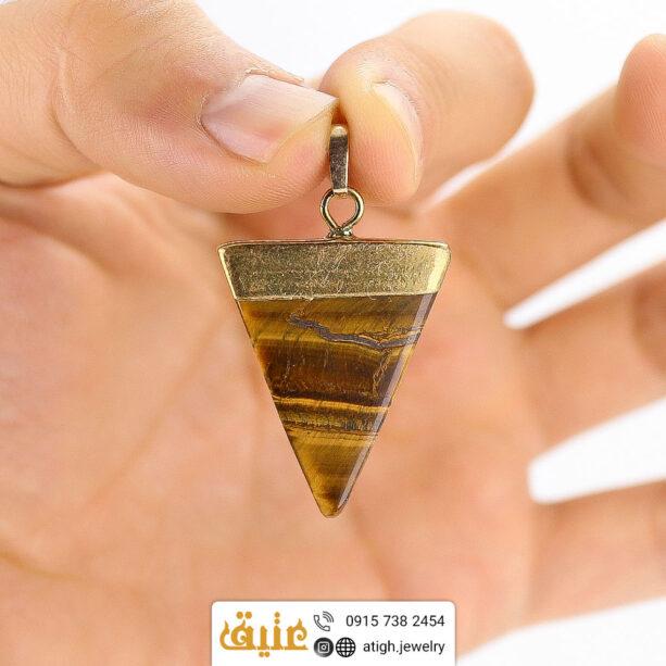 گردنبند چشم ببر مثلثی سنگ درمانی بهمراه زنجیر استیل