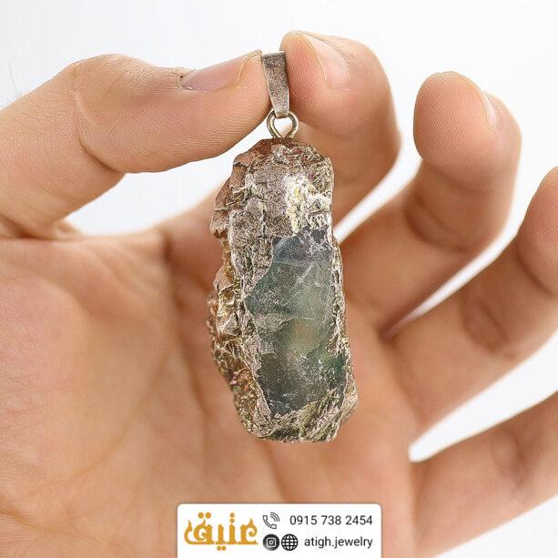 گردنبند فلورین راف طبیعی سنگ درمانی با زنجیر استیل