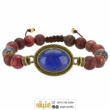 دستبند عقیق آبی، لاجورد و رودونیت