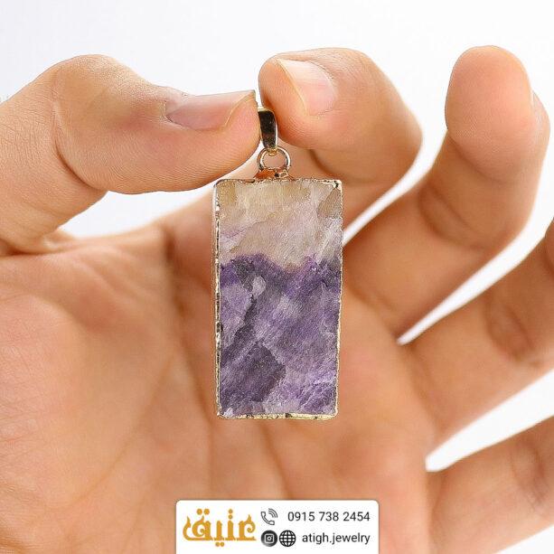 گردنبند فلورین دو رنگ راف طبیعی سنگ درمانی با زنجیر استیل
