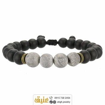 دستبند پرهنیت و عقیق سیاه