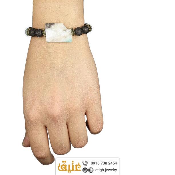 خرید دستبند آمازونیت و لاوا