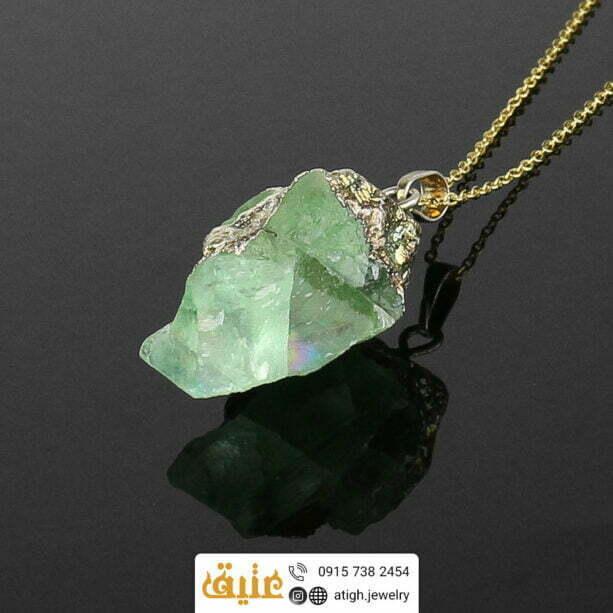 گردنبند فلورین راف معدنی سنگ درمانی با زنجیر استیل