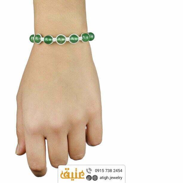 دستبند عقیق سبز اصلی مرغوب بافت و حدید مکعبی