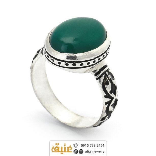 انگشتر نقره عقیق سبز