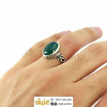 انگشتر نقره عقیق سبز معدنی مردانه اسلیمی فیلی