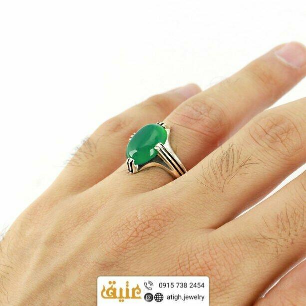 انگشتر نقره عقیق سبز طبیعی خوشرنگ چهارچنگ شیار دار