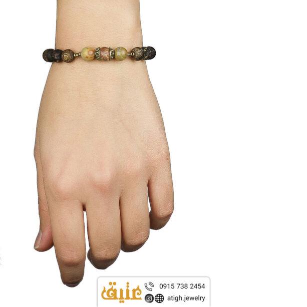 دستبند جاسپر تبتی سوخته و جاسپر امپریال طبیعی بافت و حدید مکعبی | سایت جواهری عتیق: atigh.jewelry