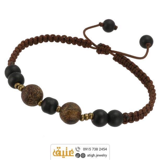 دستبند جاسپر تبتی پوست ماری و انیکس طبیعی بافت و حدید مکعبی | سایت جواهری عتیق: atigh.jewelry