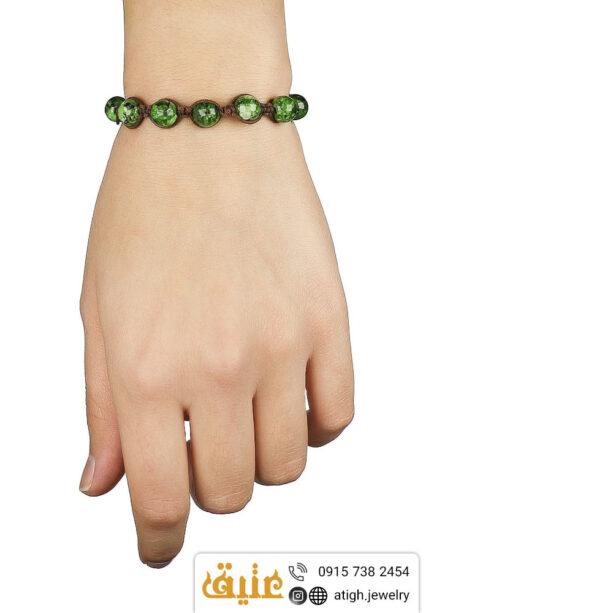دستبند بافت ابسیدین سبز معدنی و حدید مکعبی | سایت جواهری عتیق: atigh.jewelry