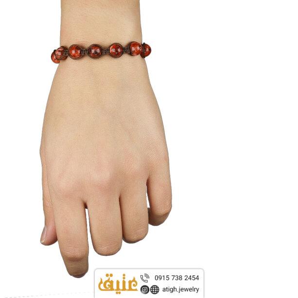 دستبند بافت ابسیدین ماهگونی معدنی و حدید مکعبی | سایت جواهری عتیق: atigh.jewelry