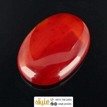 نگین عقیق سرخ اصل درشت رنگ بینظیر تراش دامله | سایت جواهری عتیق: atigh.jewelry