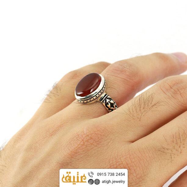 انگشتر نقره عقیق سرخ معدنی مردانه رکاب با نقوش اسلیمی