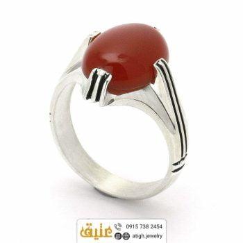 انگشتر نقره عقیق سرخ
