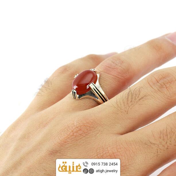 انگشتر نقره عقیق سرخ معدنی چهارچنگ شیار دار