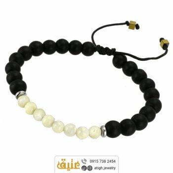 دستبند بافت صدف و عقیق سیاه (انیکس) معدنی و حدید مکعبی   سایت جواهری عتیق: atigh.jewelry