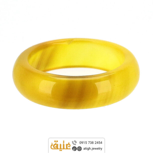 حلقه عقیق سلیمانی عسلی طبیعی سایز ۵۷ | سایت جواهری عتیق: atigh.jewelry