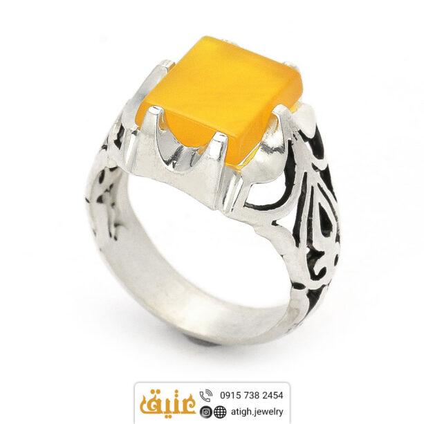 انگشتر نقره عقیق زرد