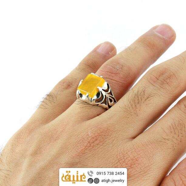 انگشتر نقره عقیق زرد شرف الشمس اصل مربعی مردانه چهارچنگ | سایت جواهری عتیق: atigh.jewelry