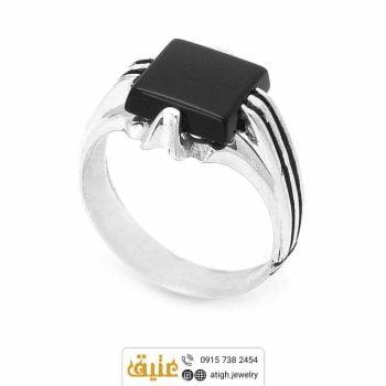 خرید انگشتر نقره عقیق سیاه