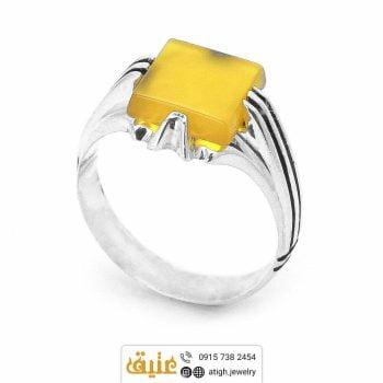 خرید انگشتر نقره عقیق زرد شرف الشمس