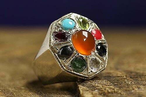 انگشتر چند جواهر ۹ نگین جواهری عتیق