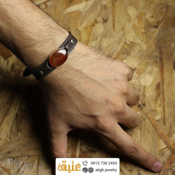 خرید دستبند چرم عقیق