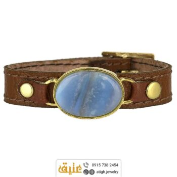 خرید دستبند چرم عقیق سلیمانی