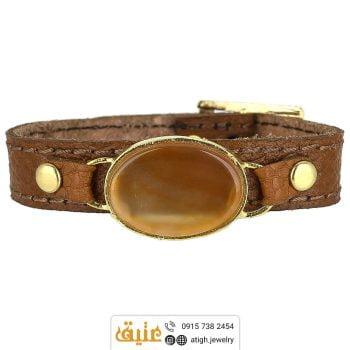 خرید دستبند چرم عقیق معدنی