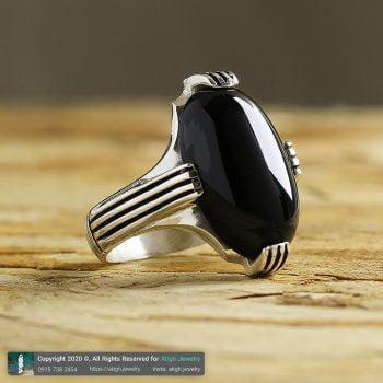 انگشتر عقیق سیاه نقره