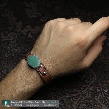خرید دستبند چرم و آونتورین