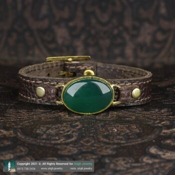 خرید دستبند چرم عقیق سبز