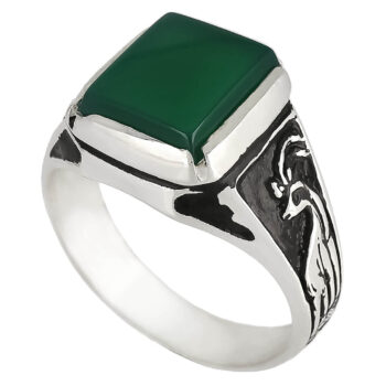 خرید انگشتر عقیق سبز نقره
