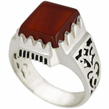 خرید انگشتر عقیق سرخ نقره