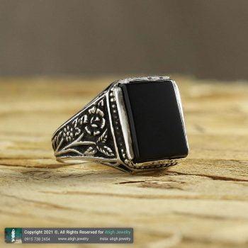 خرید انگشتر عقیق سیاه نقره