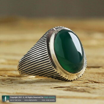 خرید انگشتر عقیق سبز نقره با حرز امام جواد